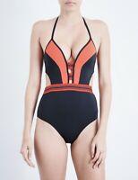 Jets Jessika Allen Womens Swimwear Optima Plunge Cut Out Blue One Piece Size 4