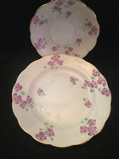 Royal Standard English China Luncheon Plate & Saucer, Purple Flowers Orange Dots