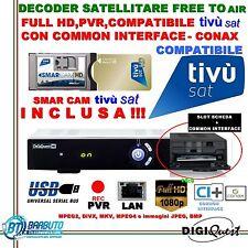 DECODER SAT HD BWARE 8400CI + CAM E SCHEDA TIVUSAT HD OTTIMO PER TV SVIZZERA HD!