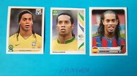 3x 🔥RONALDINHO  STICKERS RARE LOT 🔥 PANINI WC 2006 2010 COE 2005 HOT INVEST