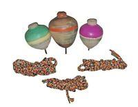 3 Pcs Vintage Desi Toys Lattu Game Painted Wooden Round Spinning Top & Thread