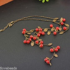 Womens Girls Sweet Little Cherry Charm Long Necklace Sweater Chain Jewelry