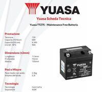 BATTERIA MOTO YUASA TTZ7S=YTZ7S 12V 6AH Yamaha WR F - 250 cc - anni: 2011>