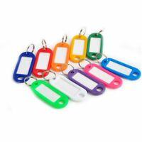 10 Porte-Clés Etiquettes Anneau Fendu Identification Couleurs Trousseau Nom NEUF