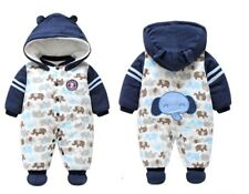 New Baby Winter Thick Cotton Long Sleeve Elephant Themed Jumpsuit 9-12mths