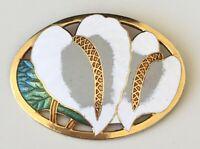 Vintage cloisonne Cala Lily flower Cloisonne  brooch pin  enamel on metal