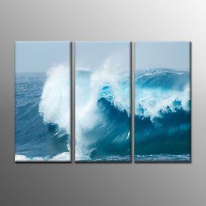 Landscape Canvas Painting Prints Sea Wave Wall Art Ocean Picture 3pcs-No Frame