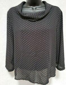 Forever21 Contemporary Women Black White Polka Dot Sheer Shirt Top Blouse Size M