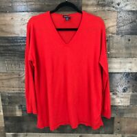 Eileen Fisher Women's Red V Neck Long Sleeved 100% Merino Wool Pullover Sweater