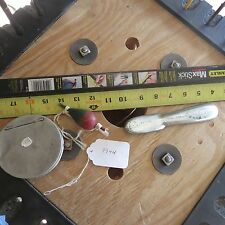Vintage Cork fishing lure Fish Scaler & tin leader box (lot#9944)