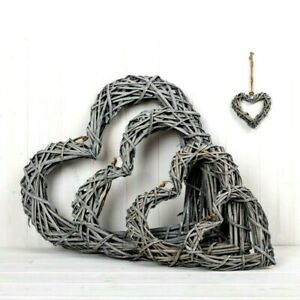 Grey Wash Willow Wicker Rattan Hanging Hearts Shabby Chic Country Style Wreaths