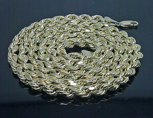 10k Gold Rope Chain Necklace 6mm 20 inch Choker Thick Rope Real Gold