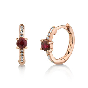 Ruby and Diamond Huggie Hoop Earrings 14K Rose Gold Round Cut Natural 0.35 TCW