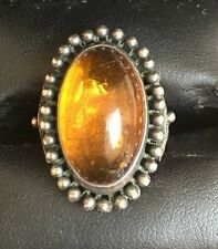 Gorgeous Baltic Amber Retro Soviet Silver Ring Size 6 1/4