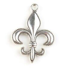 20pcs Newest Fleur-De-Lis Charms Antique Silver Zinc Alloy Pendants Jewelry L