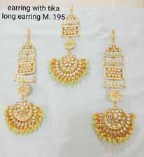 Maang Tikka Jhumki Earring Wedding Jewels Indian Bollywood Gold Tone Kundan Long