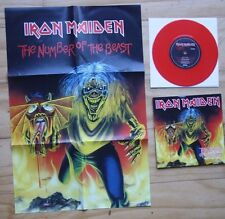 """EX! IRON MAIDEN - THE NUMBER OF THE BEAST 7"""" RED VINYL + CALENDAR POSTER EM 666"""