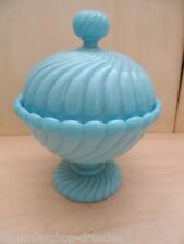 27172 Deckel Dose gepresst Preßglas blau blue opalin glass pressed