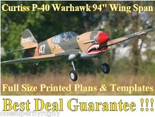 "P-40 Warhawk 94"" WS Giant Scale RC Airplane Full Size Printed Plans & Templates"