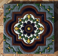 """8~Talavera Mexican 4"""" tile kiln fired hand painted Hi Relief Silver Pewter Brown"""