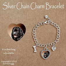 Newfoundland Dog - Charm Bracelet Silver Chain & Heart