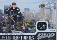 15-16 UD MVP Tomas Hertl Auto NHL Territories Sharks Autograph 2015