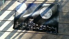 Spray paint art black and white space and city