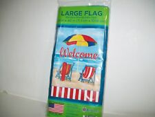 """House Flag Welcome On The Beach Measures 28"""" x 40"""" WinCraft New"""