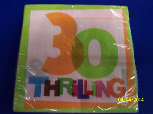 30 & Thrilling! White Over the Hill 30th Birthday Party Paper Luncheon Napkins