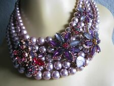 BETSEY JOHNSON FALL FOLLIES CRYSTAL/FAUX PEARL STATEMENT NECKLACE~NWT