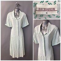 Richards White Green Mix Pleated Retro Dress UK 16 EUR 44