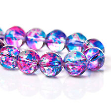 Glass loose beads round multicolor fancy spot motif 10mm – pack de 20