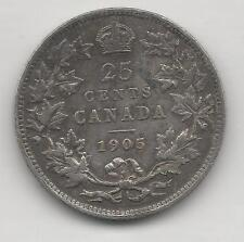 CANADA,  1905,  25 CENTS,  SILVER,  KM#11,  CHOICE VERY FINE