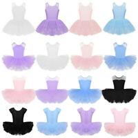Girls Ballet Tutu Dance Dress Ballerina Leotard Tiered Skirt Dancewear Costume