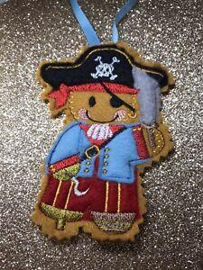 Pirate Handmade Christmas Birthday Hanging Decoration Felt Gingerbread Man