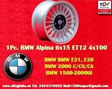 1 Cerchio BMW E30 E21 Alpine 6x15 ET12 4x100 Wheel Felge Llanta Jantes Gutachten