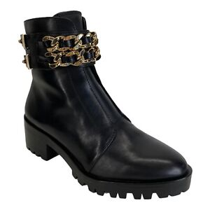 NWOB Karl Lagerfeld Paris Palmer Combat Boot Black Leather/Synthetic Gold Chain
