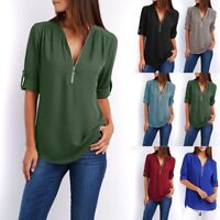 Fashion Summer Loose Tops Blouse Women Casual Chiffon Long Sleeve Ladies Shirt