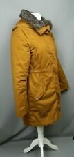 H&M Brown Parka Coat Size 10 Knee Length Faux Fur Collar Hooded 2 in 1  Autumn
