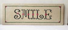 """Vintage """"Smile� Motto Finished Cross-Stitch Sampler Linen Jane Snead Unframed"""