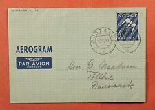 Dr Who 1949 Norway Aerogramme Orstavik To Denmark C227780