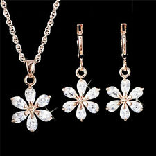Gold Plated Jewelry Set Rhinestone Flower Necklace Earrings Jewelry Set RA