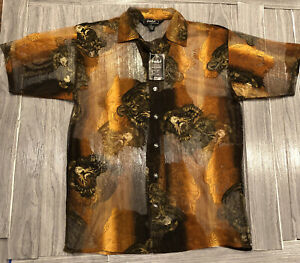 VTG Trust Couture Collection Mesh Sheer  Tiger All Over Print Shirt Size XL