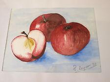 Bild Aquarell Äpfel Apfel Pomme Baum Obst Holz Rahmen gerahmt P.Renner sig. 2003