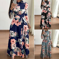 Ladies Girl Flower Print Dress Round Neck Maxi Dress Long Sleeve Party Dress