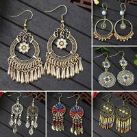 Retro Women Boho Ring Earrings Long Tassel Fringe Drop Dangle Ear Stud Jewelry