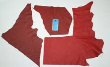 Leather scraps Three Red Italian lot Remnants pieces hides sheep goat lampskin