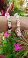 Women's Ladies Boho Beach Coconut Husk Pink Blue Agate Bead Bracelet Jewellery