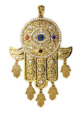 22K Gold Filled Pendant Hamsah-Eivl Eye-White topaz Gems Necklace FREE Shipping