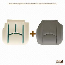 2003-2006 Chevy Silverado Driver Bottom Leather Seat Cover and Seat Cushion Gray